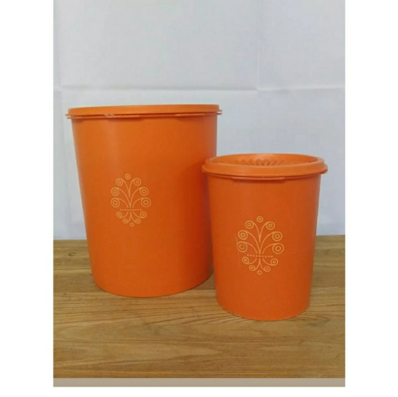 Tupperware Other - 4 Piece Vintage Tupperware Orange Canister Set